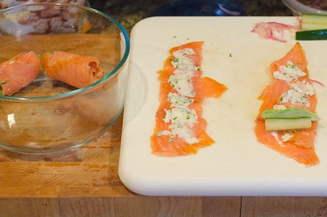 Making the Smoked Salmon Rolls