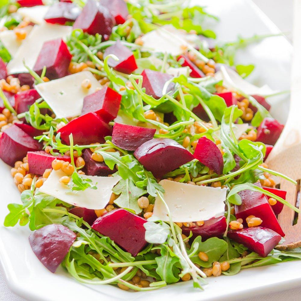 Beet Salad with Barley, Arugula and Parmesan