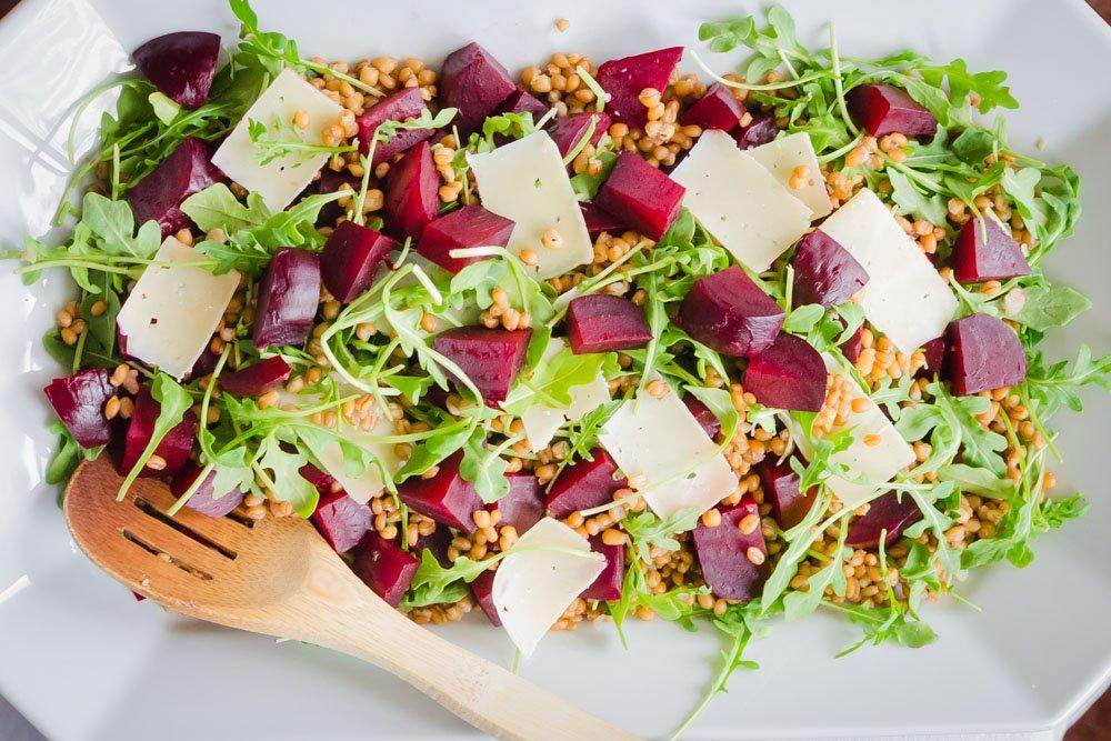 Arugula Salad with Beets, Barley and Parmesan