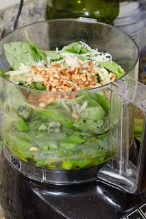 Aspraragus, Basil, Pine Nuts and Paremesan in a food processor