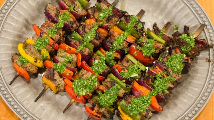 Chimichurri Steak Skewers with Extra Chimichurri on Top