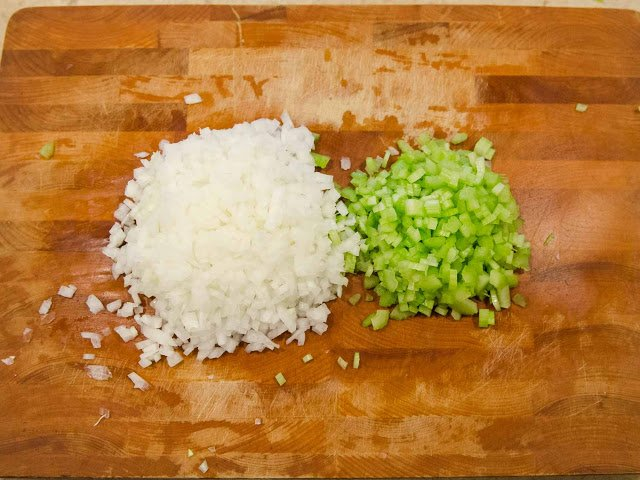 White Mirepoix prep for Roasted Broccoli and Garlic Soup