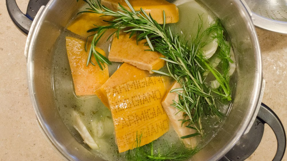 Parmesan Rind Stock Ingredients in a Pressure Cooker