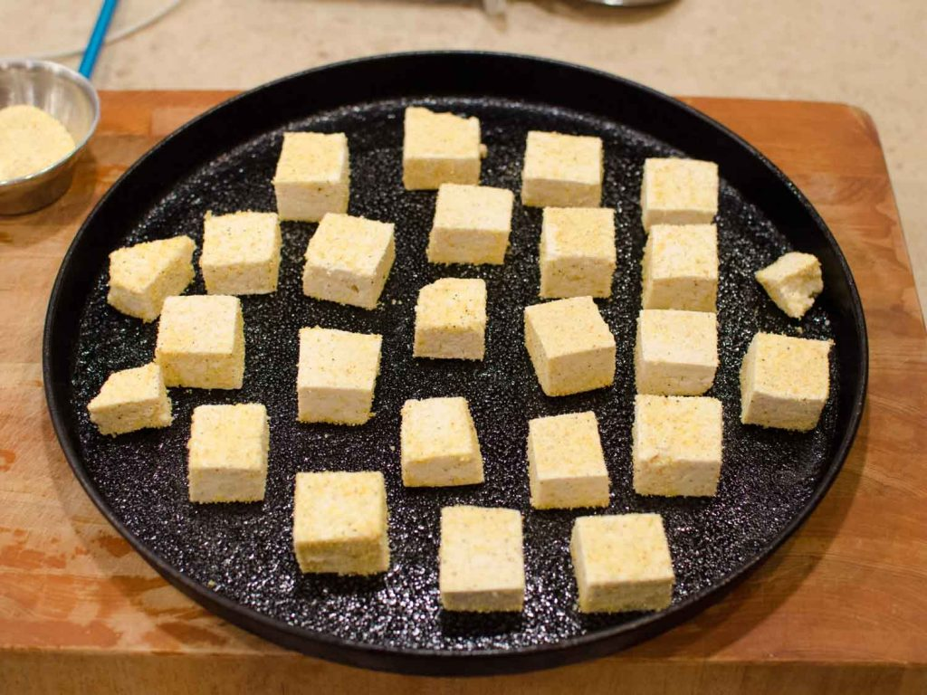 Crispy Baked Tofu on a Sheet Pan before Baking