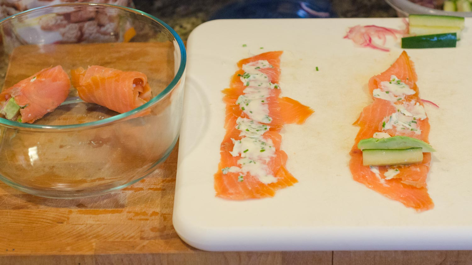 Preparing Smoked Salmon Rolls with Compound Butter